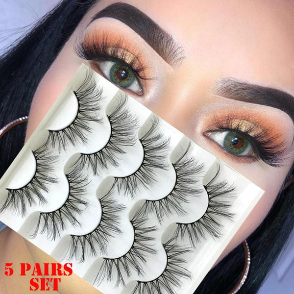 5 Pairs 3D Faux Mink Hair False Eyelashes Natural Long Full Volume Wispies Classic Handmade Lashes Extension Eye Makeup Tools