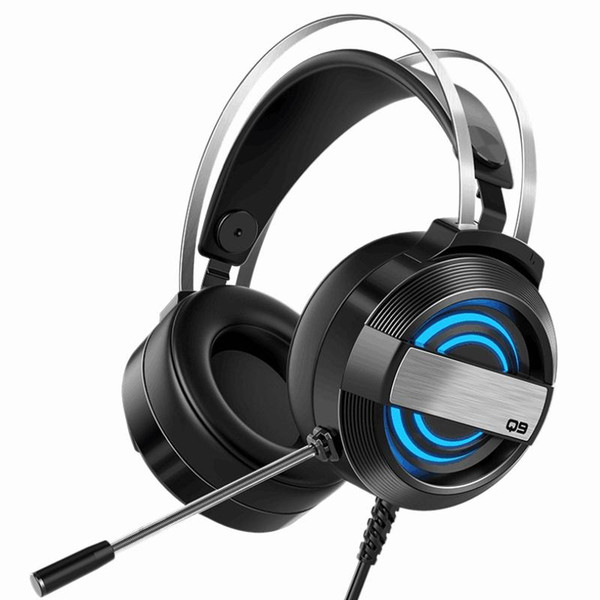 Q9 Gaming Headset USB Headset Noise Reduction Headset, Breathing Light Computer with Microphone