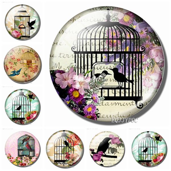 bird in the cage fridge magnets 30mm cute glass magnetic refrigerator decorative stickers french romantic village home decor