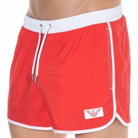 Emporio Armani Recycled Pop Contrast Swim Shorts - Red L ON SALE