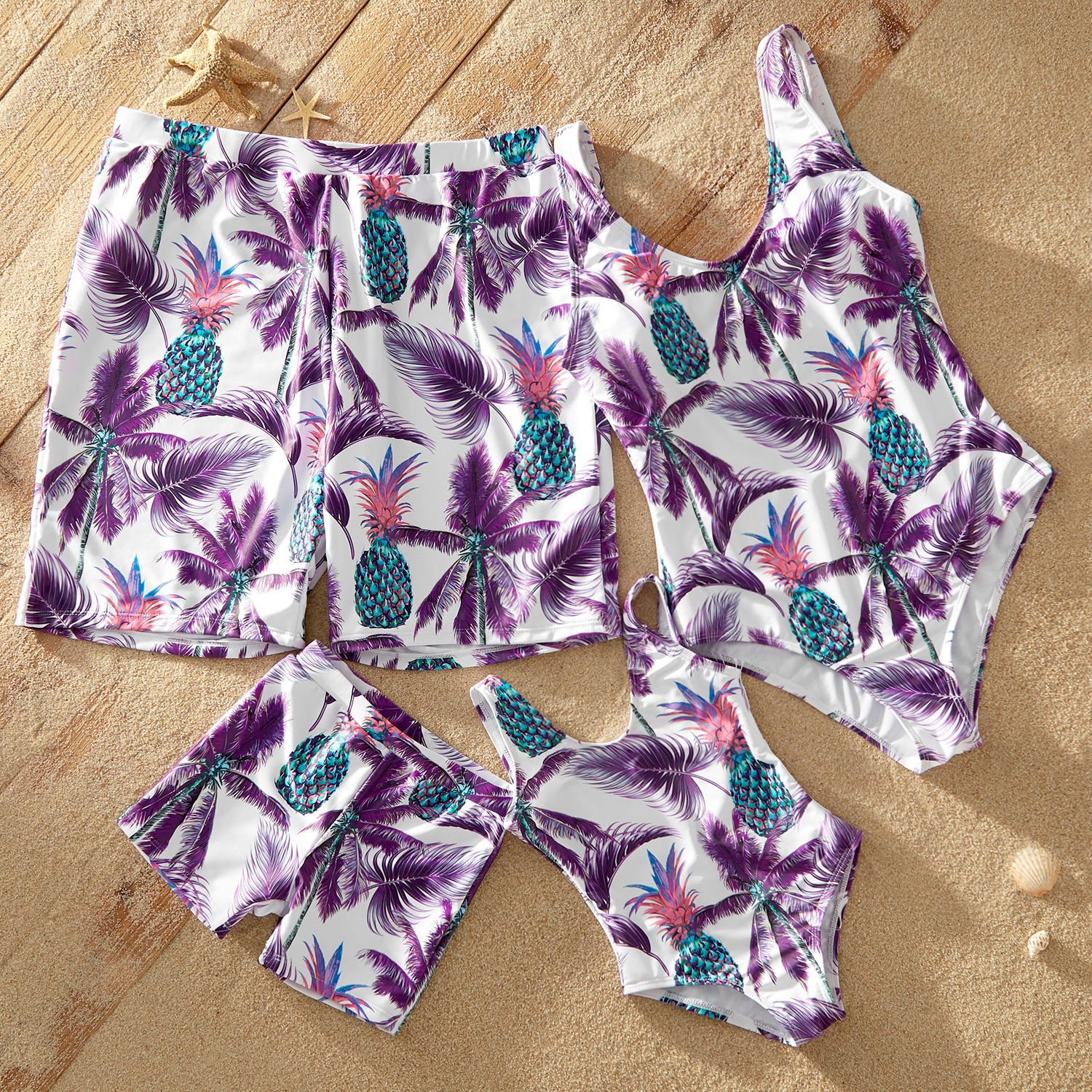 Basic Pineapple Print Matching Swimsuits