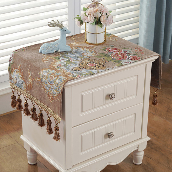 European style jacquard bedside table cover towel Chenille TV cabinet cloth cover dust roof small multi-function towel