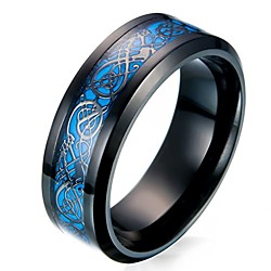 men's 8mm black carbon fiber celtic dragon blue luminous effect ring band glow in the dark