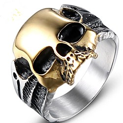 Men Midi Ring Vintage Style Gold Titanium Steel Skull Vintage 1pc 8 9 10 11 12 / Men's