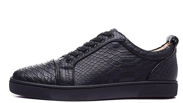 wholesale 2019 mens black fishskin genuine leather low top sneakers,designer brand sports shoes,skateboarding shoes 39-47 free shippingL16
