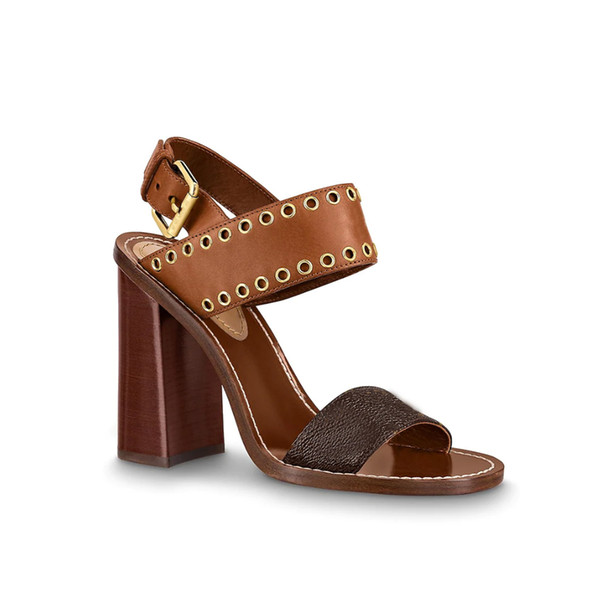 9.5cm women lady girl calf leather outsole Cognac Brown chunky high block heel ankle strap buckle Studded Passenger sandal shoes