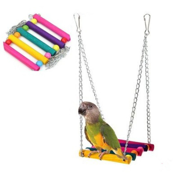 parrot toys colour woodiness swing suspension bridge station stand cage parts gnaw toys cross border