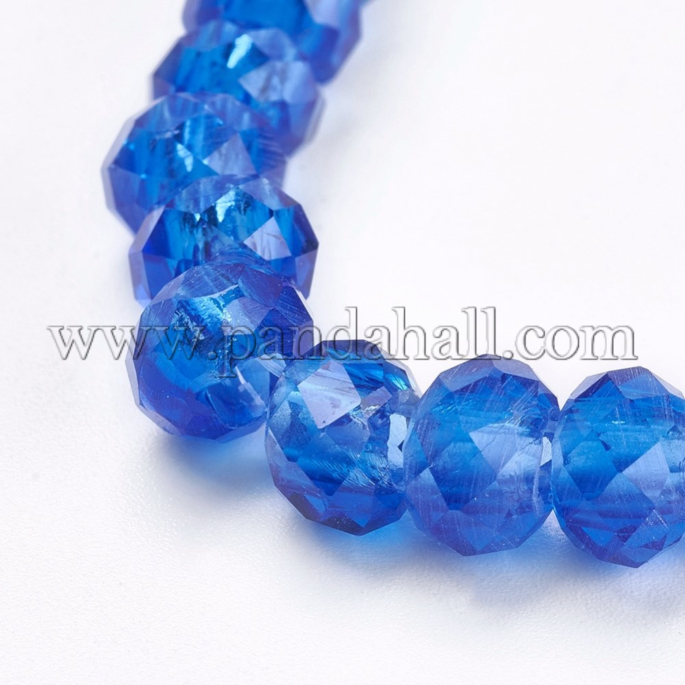 Transparent Glass Beads, Faceted Rondelle, Blue, 8x5mm, Hole: 3mm