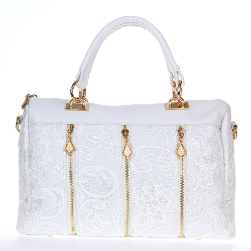 Fashion Women's Lady Retro Lace Handbag PU (Faux) Leather Tote Crossbody Shoulder Bag White