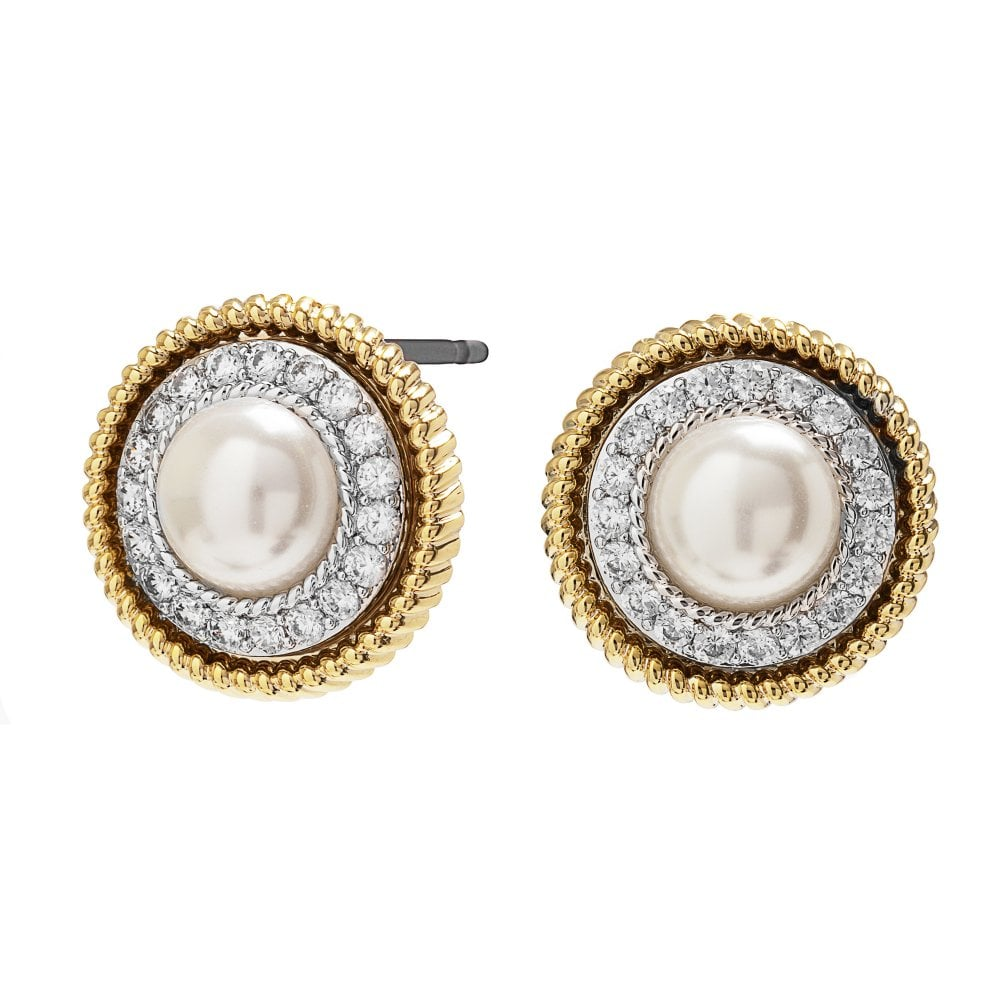 Two Tone Gold and Silver Plated Pearl Stud Earring