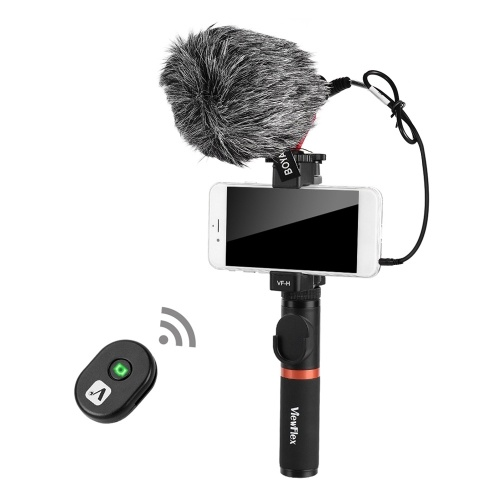 Smartphone Video Rig Hand Grip with BT Remote Control + Mini Microphone for iPhone 6s plus for Samsung Galaxy S8+ S8 Note 3 Huawei