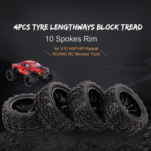 4PCS 1/10 RC Off-road Tyre Lengthways Block Tread Pattern 10 Spokes Rim for 1/10 HSP HPI Redcat RC4WD RC Monster Truck