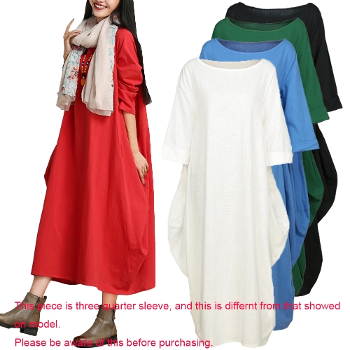 Ethnic Women Dress Solid Cotton Pocket Round Neck 3/4 Sleeve Loose Baggy Vintage Maxi Gown Robe One-Piece