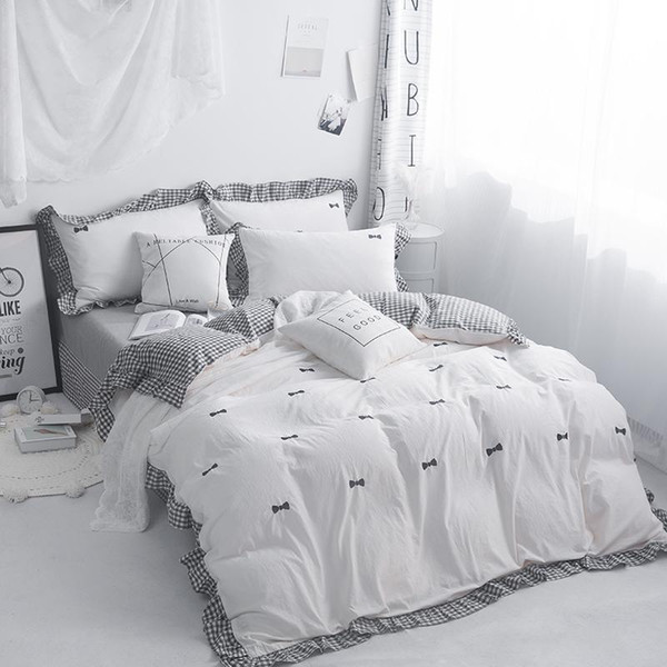 Embroidery Grey Pink White 100%Cotton Bedding Set Kids Girls Twin Queen King size Duvet Cover Bed sheet set Quilt Bedding Sets