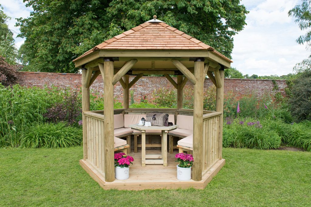 Forest Garden 3m Hexagonal Wooden Garden Gazebo with Cedar Roof - Furnished with Table, Benches and Cushions (Cream)
