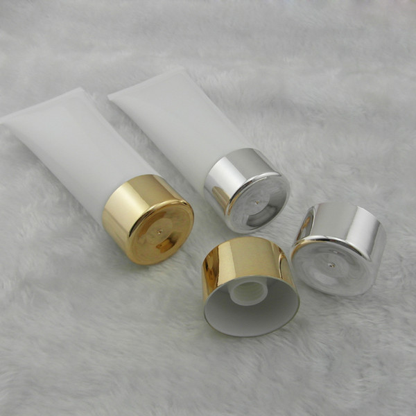 50pcs 100 ml white tube / gold silver screw cap / tube lotion cream bottle / PE plastic cosmetic packaging empty bottles