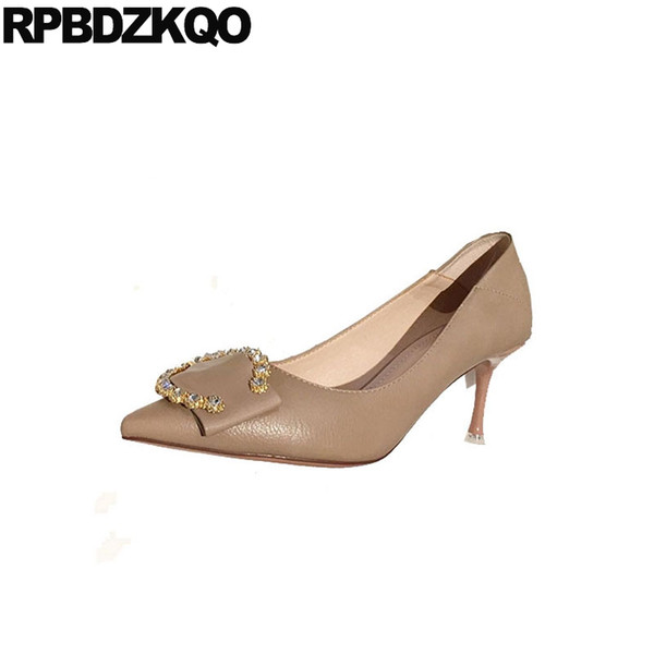 casual diamond beige ladies high heels shoes pointed toe rhinestone thin size 4 34 crystal slip on scarpin pumps nude 3 inch