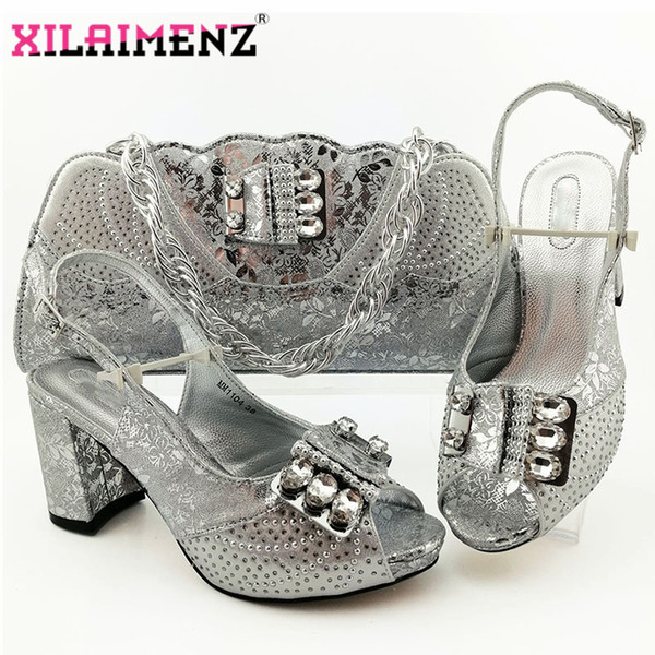 2020 New Coming Office Lady Silver African Shoes And Bag Set To Match Nigerian Party Shoes With Matching Bags Set